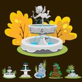 Set of outdoors fountain for gardening Royalty Free Stock Photo