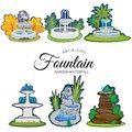 Set of outdoors fountain for gardening