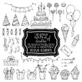 Set of outline birthday design elements. Royalty Free Stock Photo