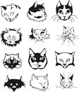Set of outline cat heads black and white vector illustrations Royalty Free Stock Photography