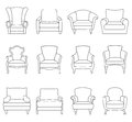 A Set Of Outline Chair. Vector...