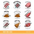 Set of outline color line logo. Labels for Meat farm, grill and BBQ bar, butcher shop isolated