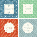 Set of outline design frames on seamless backgrounds with flowers. Royalty Free Stock Photo