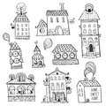 Set of outline hand drawn buildings vector illustration Stock Photography