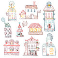 Set of outline hand drawn buildings vector illustration Royalty Free Stock Photo