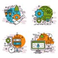 Set of outline icons of Cyber Attack. Royalty Free Stock Photo