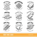 Set of outline line logo. Labels for Meat farm, grill and BBQ bar, butcher shop isolated