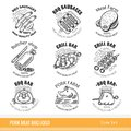 Set of outline line pork products logo. Labels for Meat farm, grill and BBQ bar, butcher shop isolated