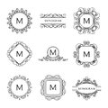 Set of outline monograms and logo design templates abstract elements emblems badges vector illustration Royalty Free Stock Image