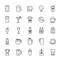 Set of Outline Stroke Beverage icon Royalty Free Stock Photo