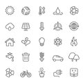 Set of outline stroke ecology icon vector illustration Stock Image