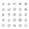 Set of outline stroke natural icon vector illustration Royalty Free Stock Photography