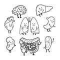 Set of outlined funny human organs with cute smiling faces