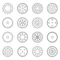 Set Of Outlines Of Gear Wheels...