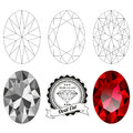 Set of oval cut jewel views Royalty Free Stock Photo