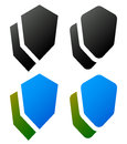 Set of overlapping shield icons / signs. Rounded, edgy and colo Royalty Free Stock Photo