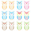 Set of owls Stock Photo