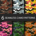Set of 6 pack Camouflage seamless patterns background with black shadow. Classic clothing style masking camo repeat