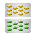 Set of Package of pills. Group of realistic yellow green pharmaceutical drugs. Royalty Free Stock Photo