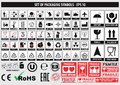 Set of packaging symbols, FCC,ROHS,tableware, plastic, fragile symbols, cardboard symbols Royalty Free Stock Photo