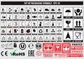 Set of packaging symbols, FCC,ROHS,tableware, plastic, fragile symbols, cardboard symbols