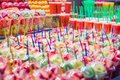 Set packed of fresh fruits and juices in la boqueria market in closeup slice the famous ramblas street barcelona spain Stock Image