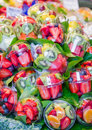 Set packed of fresh fruits in la boqueria market in ramblas str closeup slice the famous street barcelona spain Stock Photography