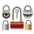Set of padlocks different designs and sizes from thieves and intruders Royalty Free Stock Images