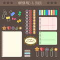 Set of pages notebook with stickers, colored tape, staples. Template for school accessories, scrapbooking, wrapping Royalty Free Stock Photo