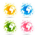 Set of paint splashes with map silhouette Royalty Free Stock Photo