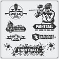 Set of paintball club labels, emblems, symbols, icons and design elements. Royalty Free Stock Photo