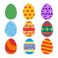Set of painted Easter eggs for the holiday. Vector, illustration in flat style isolated on white background EPS10.