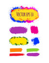 Set of painted grunge banners. Bright colorful ink vector stains isolated on white. Royalty Free Stock Photo