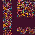 Set of painted plants seamless pattern and borders vector backgrounds with hand drawn elements Royalty Free Stock Photos