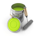 Set painter the bright green paint and a roller on an background Royalty Free Stock Photos