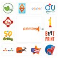 Set of painting company, french bulldog, us map, antelope, ping pong, boot print, 50th birthday, no.1, fire station icons Royalty Free Stock Photo