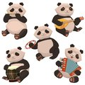stock image of  A set of pandas playing musical instruments. Image isolated on white background. Vector graphics
