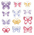 Set of paper butterflies decorative hand drawn made for design on white background Stock Photo