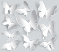 Set of paper butterfly white Stock Photography