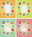 Set of paper card with Easter eggs, bunny, cake