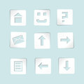 Set of paper icons on blue background Royalty Free Stock Photography