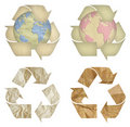 Set of paper recycling symbol isolated Stock Images