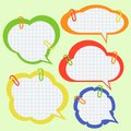 Set of paper speech bubbles with pins Stock Photo