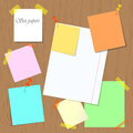 Set of papers pinned and attached to the board. Royalty Free Stock Photo