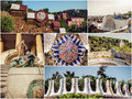 Set Parc Guell Royalty Free Stock Photo
