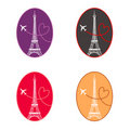 Set of Paris icons Stock Photo