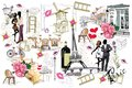 Set of Paris illustrations with fashion girls, cafes and musicians.