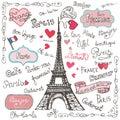 Set of Paris symbols,lettering.Hand drawn doodle