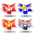 Set of participant Countries Flags for Sports concept. Royalty Free Stock Photo