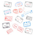 Set of passport visa stamps Royalty Free Stock Photo